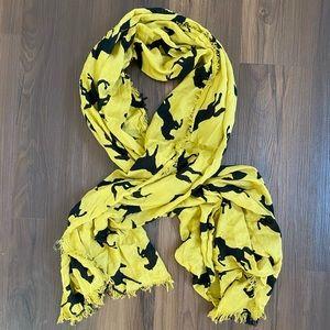 Goldenrod gold yellow black horse print scarf